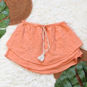 Free People Coral Orange Tiered Mini Skirt Small